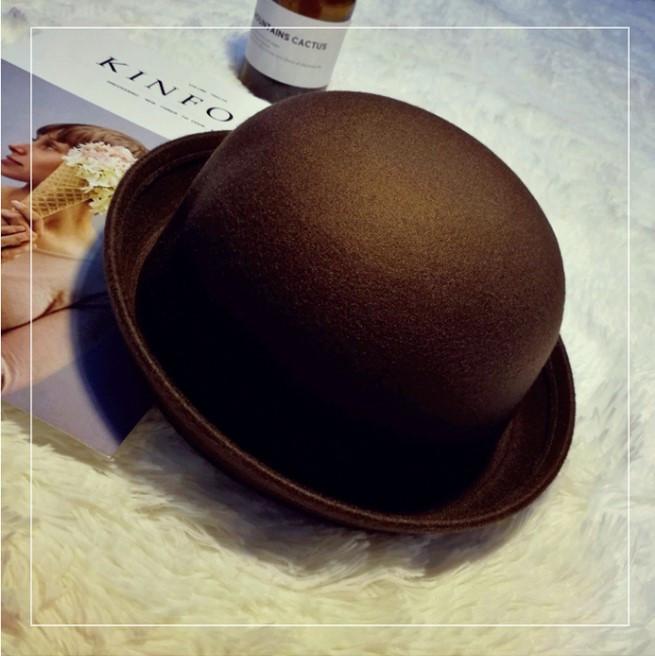 Женская фетровая шляпа котелок коричневая
