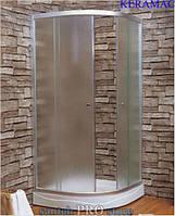 "Душевая кабина с мелким поддоном, стекло 4мм ""FABRIC"", 100*100*194см, цвет сатин."
