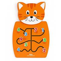 Игрушка настенная,бизиборд, Кот с цифрами,Viga Toys 50676, фото 1