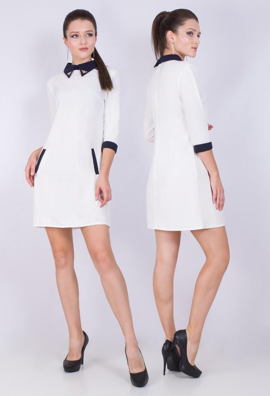 Короткое закрытое платье 40-46 (в расцветках)