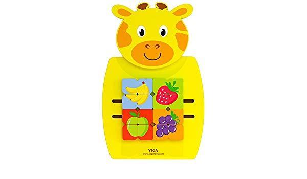 Игрушка настенная,бизиборд, Жираф с фруктами, Viga Toys 50680