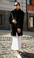 Шуба норковая из цельных пластин норки Blackglama,  модель елочка. Модель 200201938, фото 1