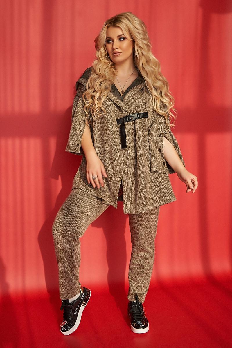 Стильный теплый женский трикотажный твидовый костюм: широкая кофта с капюшоном и штаны, батал большой размер