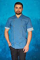 Мужская джинсовая рубашка-китель