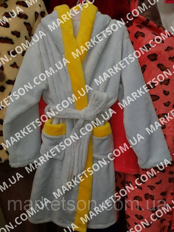 Детский махровый халат с ушками Зайка для детей от 4 до 6 лет