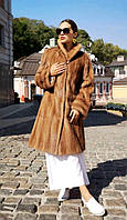Шуба норковая женская  c воротом стойкою светлая мокко,  классика. Модель 20050, фото 1