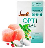 Консервы Optimeal ( Оптимил ) с кусочками курицы для котят 85 гр * 12 шт