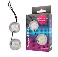 Шарики вагинальные АБС пластик Подготовка к Оргазму Balls серебряные D 3,5 см L 14 см