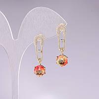 Серьги булавки 925 с желто оранжевыми кристаллами в стиле Сваровски (им.)