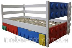 Детская односпальная кровать Легго-1 с ящиками, ясень