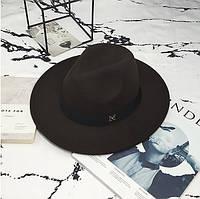 Женская фетровая шляпа Федора с устойчивыми полями и лентой коричневая, фото 1