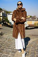 Шуба норковая с капюшоном под пояс, цвета орех.. Модель 20020987, фото 1
