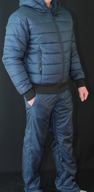Зимний мужской костюм на синтепоне темно-синий