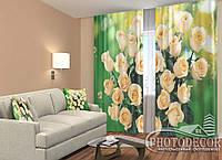 """ФотоШторы """"Розы на зеленом фоне"""" 2,5м*2,9м (2 полотна по 1,45м), тесьма"""
