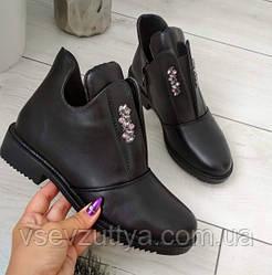 Черевики жіночі чорні  екошкіра на низькому каблуку