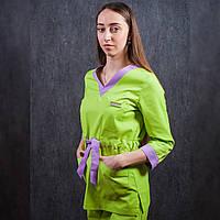 Костюм медицинский зеленый с лавандовыми вставками