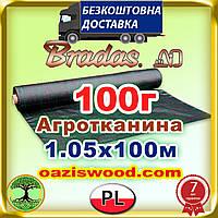 Агротканина 1,05 * 100м 100г/м² BRADAS плетена, чорна, щільна. Мульчування грунту на 7-10 років, фото 1
