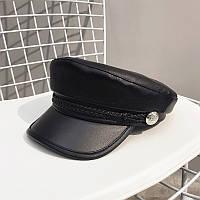 Женский картуз, кепи, фуражка CAP с канаткой из экокожи черный, фото 1