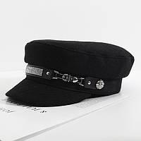 Женский картуз, кепи, фуражка CAP со стразами черный, фото 1