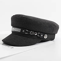 Женский картуз, кепи, фуражка CAP со стразами серый