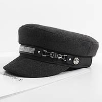 Жіночий картуз, кепі, кашкет CAP зі стразами сірий, фото 1