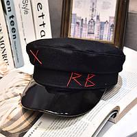 Женский картуз, кепи, фуражка CAP RB с лаковым козырьком черный, фото 1