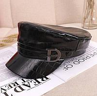 Женский картуз, кепи, фуражка CAP DJeans Reptile лаковый из экокожи черный, фото 1
