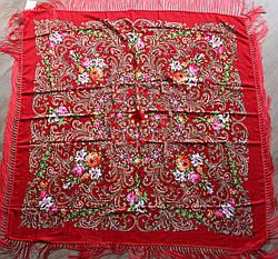 Платок червоний в народному стилі (120х120)