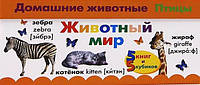 Детская книга Животный мир. Названия животных на русском и английском языках.