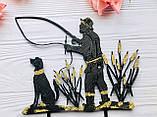 Топпер на торт рибалка, рибак з собакою на торт, Топпери з рибалкой, рибак на торт, фото 3
