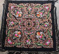 Платок чорний в народному стилі (120х120)