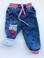 Детские зимние джинсы на девочку 3-5 лет махра под резинку, фото 1
