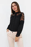 S, M, L, XL / Романтична жіноча блузка з мереживом Gilmor, чорний XL (48-50)