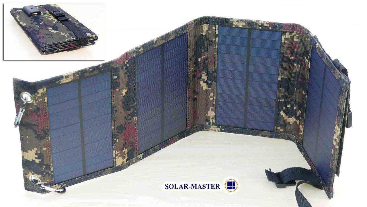 Солнечная батарея раскладная 10 Ватт 5 Вольт, портативное солнечное зарядное устройство