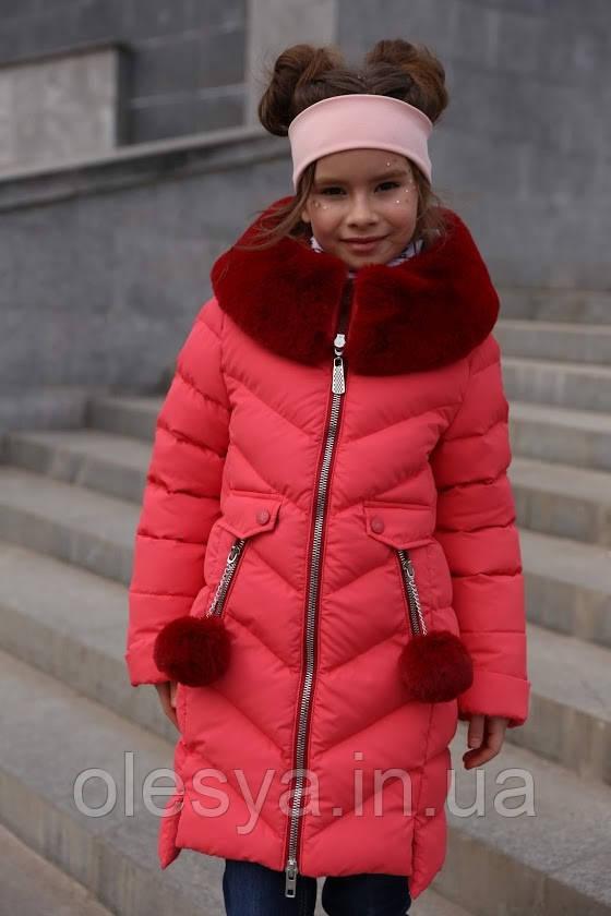 Зимнее пальто на девочку Ясмин Тм Nui Very Размеры 110 -158 хит продаж
