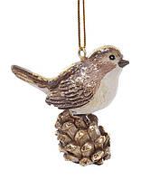 """Подвесной елочный декор """"Птичка на шишке"""" 6 см."""