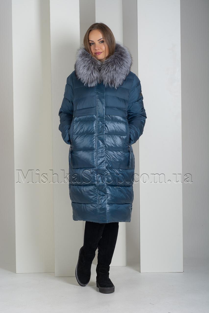 Изысканный пуховик больших размеров с натуральным мехом финской чернобурки Deify 19-82 цвета морская волна