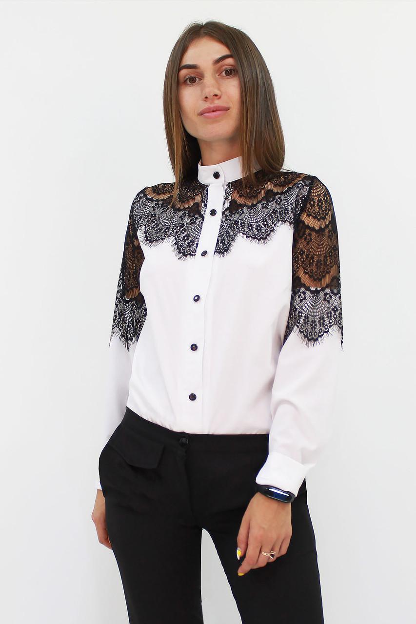 S, M, L, XL / Романтична жіноча блузка з мереживом Gilmor, білий