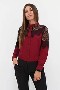 S, M, L, XL / Романтична жіноча блузка з мереживом Gilmor, марсала