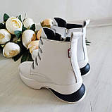 Женские зимние кожаные ботинки спортивного стиля (белый), фото 7