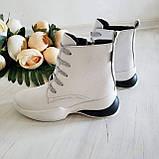 Женские зимние кожаные ботинки спортивного стиля (белый), фото 6