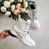 Женские зимние кожаные ботинки спортивного стиля (белый), фото 4