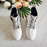Женские зимние кожаные ботинки спортивного стиля (белый), фото 3