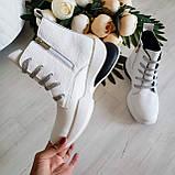 Женские зимние кожаные ботинки спортивного стиля (белый), фото 5