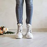 Женские зимние кожаные ботинки спортивного стиля (белый), фото 8