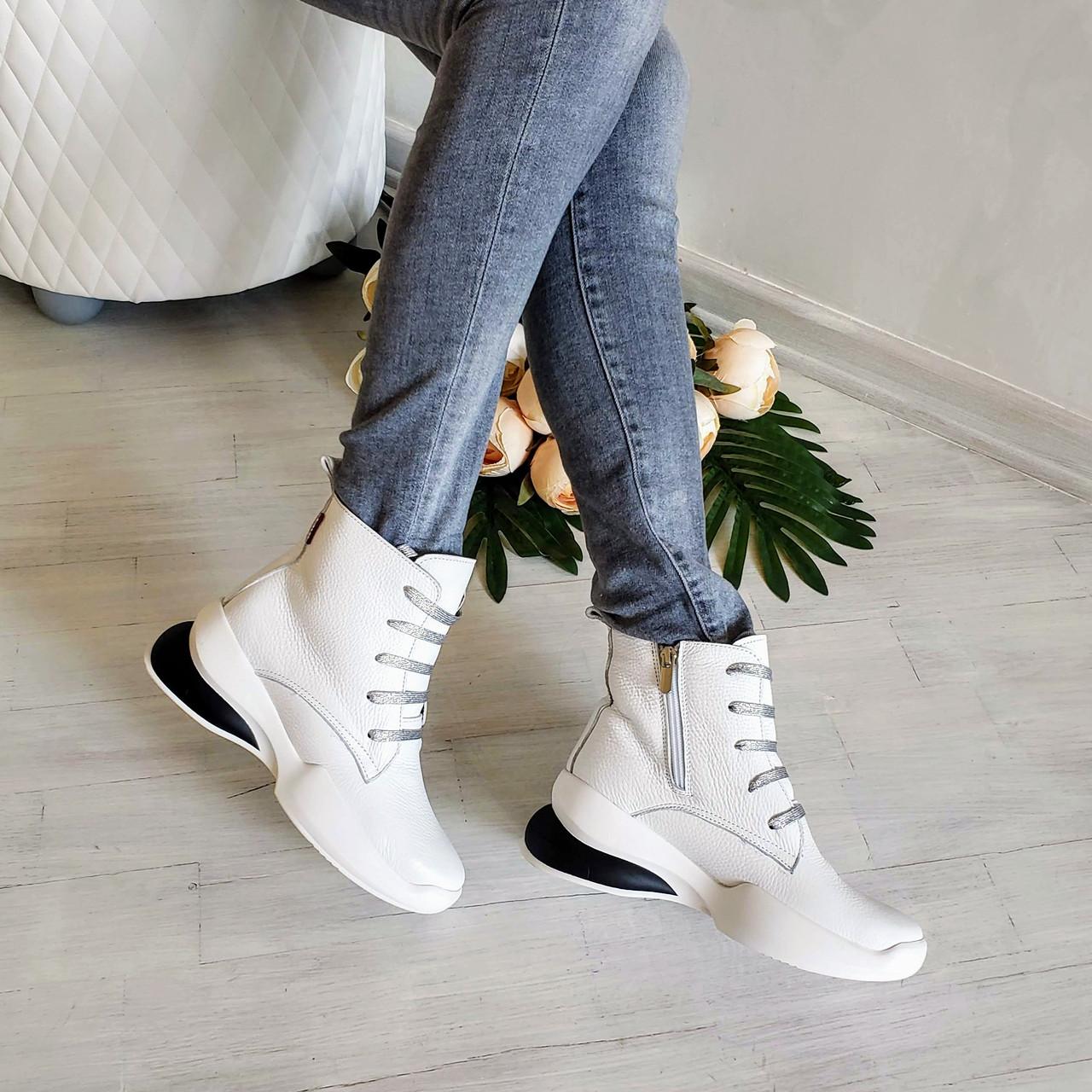 Женские зимние кожаные ботинки спортивного стиля (белый)