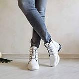 Женские зимние кожаные ботинки спортивного стиля (белый), фото 10