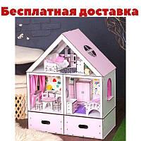 Домик для кукол Особняк Барби LUX из 3-х комнат 2 этажа с мебелью, обоями, шторками, текстилем и ящиками
