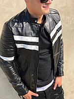 Мужская кожанная куртка-косуха без капюшона на молнии