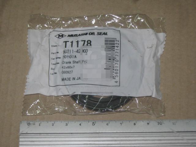 Сальник вала коленчатого FRONT TOYOTA 42x60x7 (MUSASHI). T1178